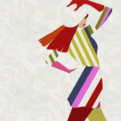 Abstract illustration  stylish woman model, clothes Collection, striped dress, hat, gloves