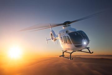 Helicopter Sunset Flight 2 Fotobehang
