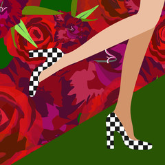 Abstract watercolor illustration of female legs in shoes pattern in a square, floral background