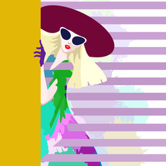 Abstract watercolor sketch girl, hat, dress , gloves, sunglasses, pink striped background and yellow , fashion