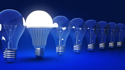 Glowing LED bulb and simple light bulbs. 3d rendering