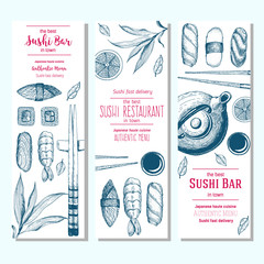 Sushi and asian Food Design. Vertical banners set. Linear graphic.