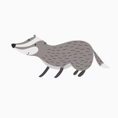 badger isolated on white background