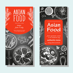 Asian food banner set. Asian food flyer collection. Linear graphic