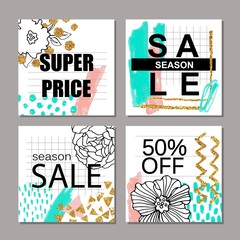 Set of creative hand drawn Sale, discount headers, banners, cards, vouchers. Design for seasonal clearance.