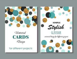 Collection of Universal Modern Stylish Cards Templates with Golden Geometrical Glitter Dots. Creative Wedding, Anniversary, Birthday, Valentines Day, Party Invitations, Business.