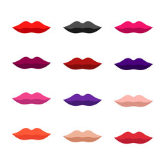 Flat design of lips. Lips icons