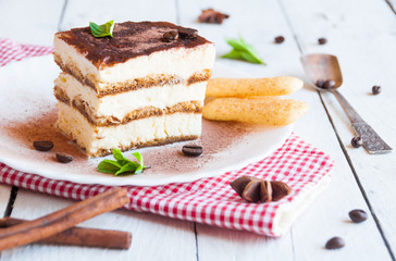 A slice of homemeade tiramisù cake decorated with coffee beans
