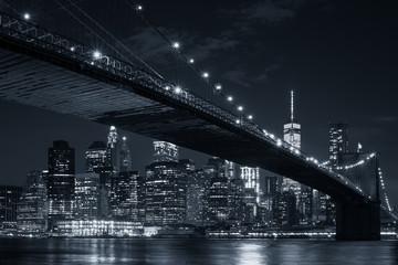 The downtown Manhattan skyline and the Brooklyn Bridge at night