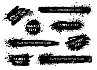 Vector banners, backgrounds, posters for quote or text collection. Hand drawn frames, strokes and round speech boxes. Grunge texture.