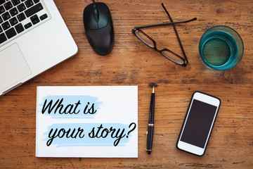 what is your story, question sign, message note in notepad