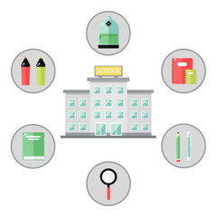 School icons concept on white background. School supplies around the building. Education tools. Flat style vector illustration.