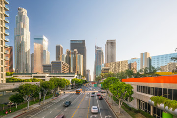 Photo sur Aluminium Los Angeles Downtown Los Angeles skyline