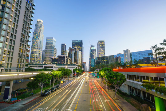 Downtown Los Angeles skyline during rush hour