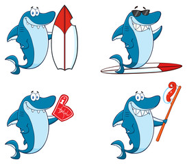 Blue Shark Cartoon Mascot Character 8. Collection Set Isolated On White Background