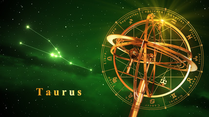 Armillary Sphere And Constellation Taurus Over Green Background