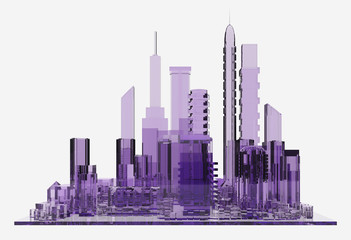 lilac glass city. 3d rendering