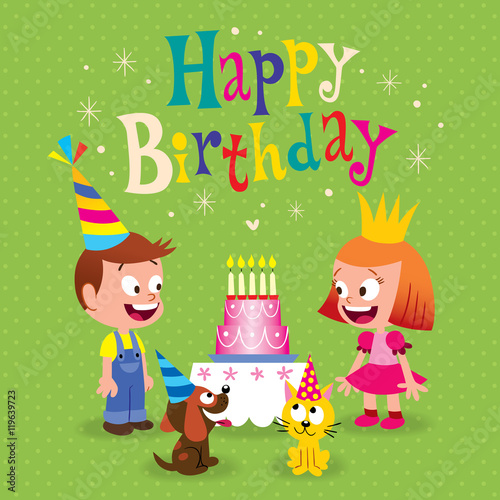 Happy Birthday kids greeting card with little girl and boy puppy – Happy Birthday Card for Little Girl