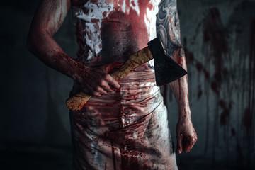 Bloody clown-maniac with ax