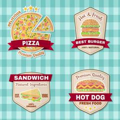Set of vintage fast food badges, banners and logo emblems.