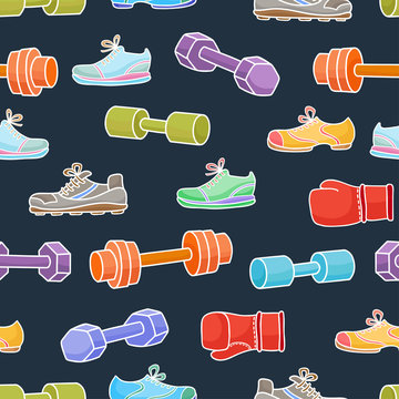 Sport equipment, healthy lifestyle elements. Seamless pattern wi