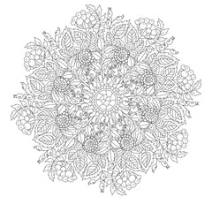Outline Mandala for coloring book with elements from leaves and berries. Decorative round ornament. Anti-stress therapy pattern. Weave design element. Oriental vector.