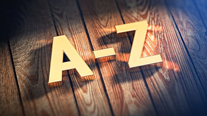 Sign A-Z on wood planks