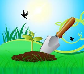 Gardening Trowel Represents Growing Flowers 3d Illustration