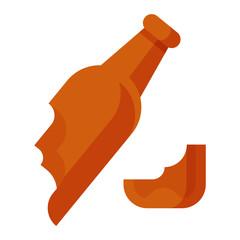 Broken bottle vector illustration.