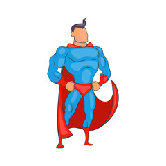 Standing Superhero in red cape icon in cartoon style isolated on white background