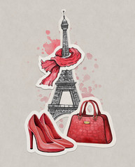 Hand drawn fashion illustration. Eiffel Tower, shoes and a handb