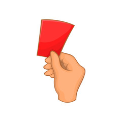 Red card football icon in cartoon style isolated on white background. Sport symbol