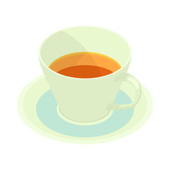 Cup of tea icon in cartoon style isolated on white background. Drinks symbol