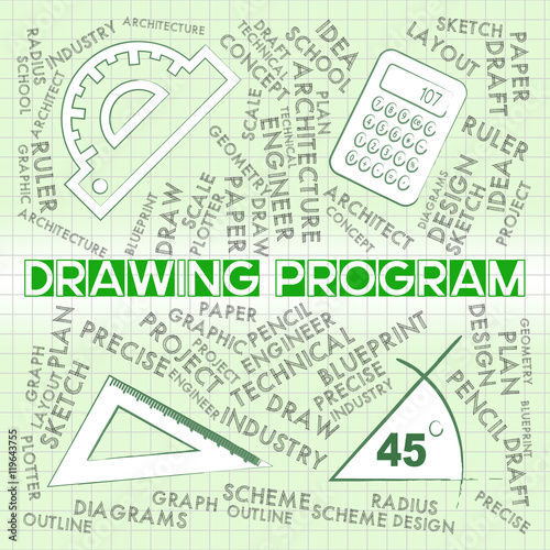 Drawing Program Represents Software Programs And Apps