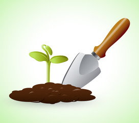 Gardening Trowel Represents Grow Flowers 3d Illustration