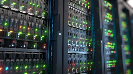 Server in datacenter. Cloud computing data storage 3d rendering