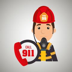 man firefighter mask helmet vector illustration graphic