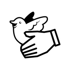white dove hand bird peace animal religion icon. Flat and Isolated design. Vector illustration