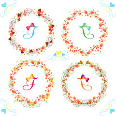 Floral Frame Collection. Set of cute retro flowers arranged un a shape of the wreath perfect for birthday cards and wedding invitations