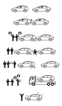 Car accident and insurance story icon set illustration pictogram black and white color isolated on white background