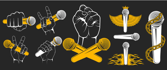 Set of vector hands with microphones for music logos. Logo for t