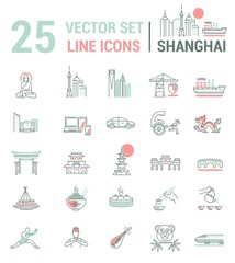 Set vector line icons in flat design with Shanghai