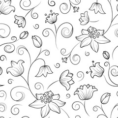 Seamless tulip and lily flower pattern. Black outline on white background.