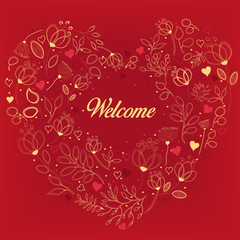 Red card with floral heart and text Welcome