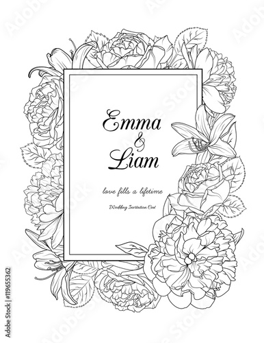 Wedding Invitation Card With Rose And Peony Flowers Floral