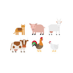 Different farm animals flat design icons set. Vector illustration