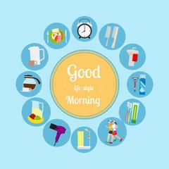 Good morning new day background. Vector illustrationa