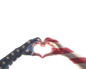 American flag red white blue star pattern on people hands in heart love shape isolated on white background: USA patriot, veterans, independence, Columbus day, constitution and citizenship day concept