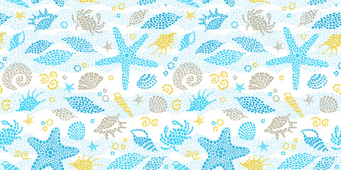 Vector seamless pattern with sea elements.
