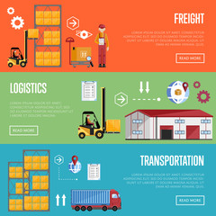 Logistics process services banners set of distribution, transportation and freight isolated vector illustration. Exterior warehouse, porters and shelves with goods.